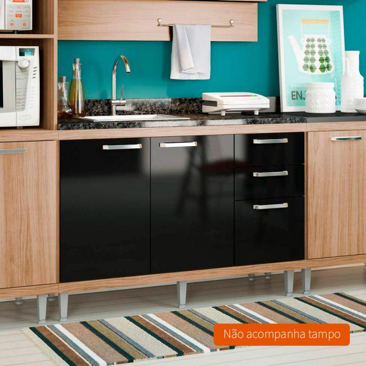 Foto 2 - Balcão de Cozinha Taylor 2 PT 3 GV Argila e Preto