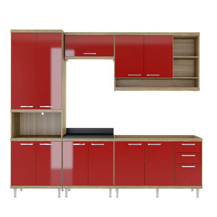Cozinha Compacta La Plata 11 PT 3 GV Argila e Vermelho