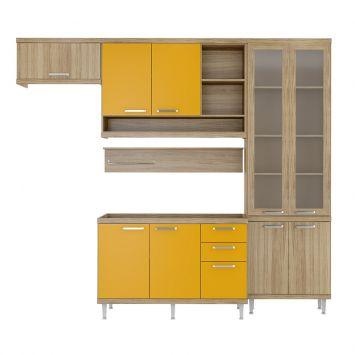 Cozinha Compacta Lanús 9 PT 3 GV Argila e Amarelo DESCONTO DE R$: 706,00 (31,97% OFF) - OFERTA MOBLY