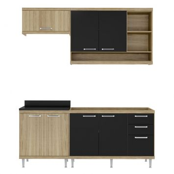 Cozinha Compacta Quilmes 7 PT 3 GV Argila e Preto DESCONTO DE R$: 537,00 (31,98% OFF) - OFERTA MOBLY