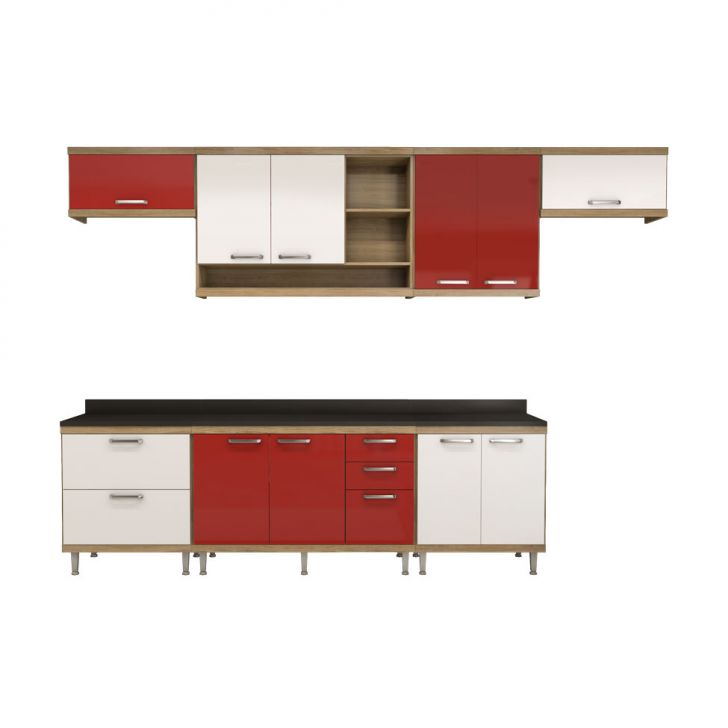Cozinha Compacta Villaguay 10 PT 5 GV Argila, Branco e Vermelho