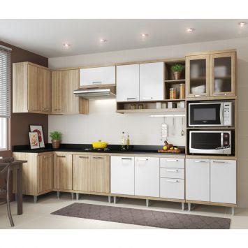 Cozinha Completa Laciara 15 PT 3 Gv Argila e branco DESCONTO DE R$: 1.196,00 (32,36% OFF) - OFERTA MOBLY