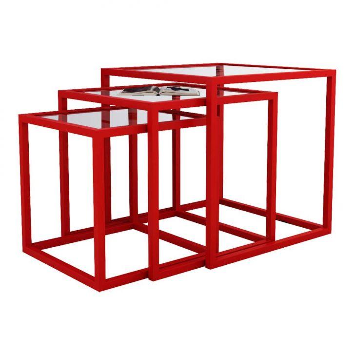 Conjunto de Mesa Lateral Trio Isabela Vermelha