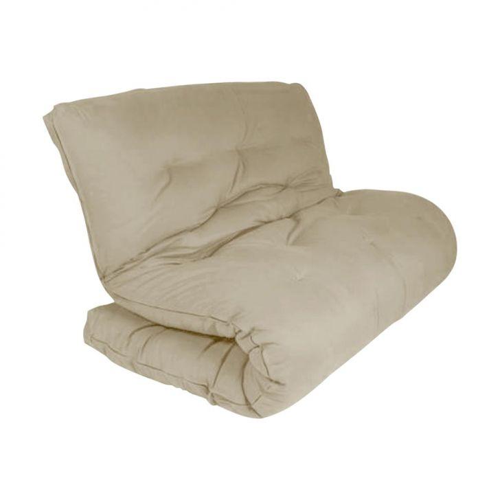 Sof cama futon solteiro marina suede bege for Futon cama 1 plaza