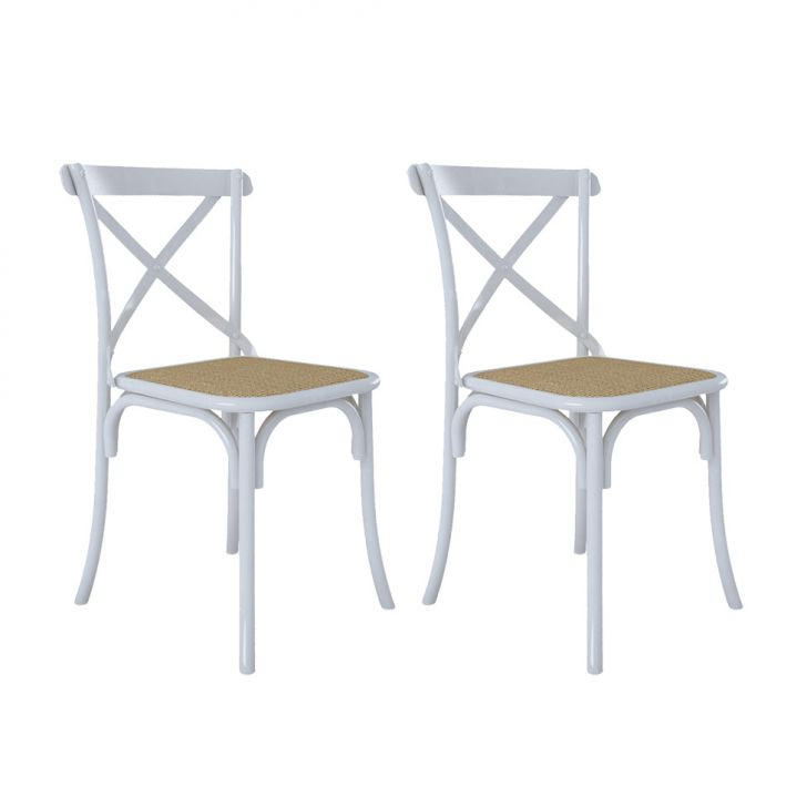 Conjunto 2 Cadeiras Katrina X Branco e Bege New Green
