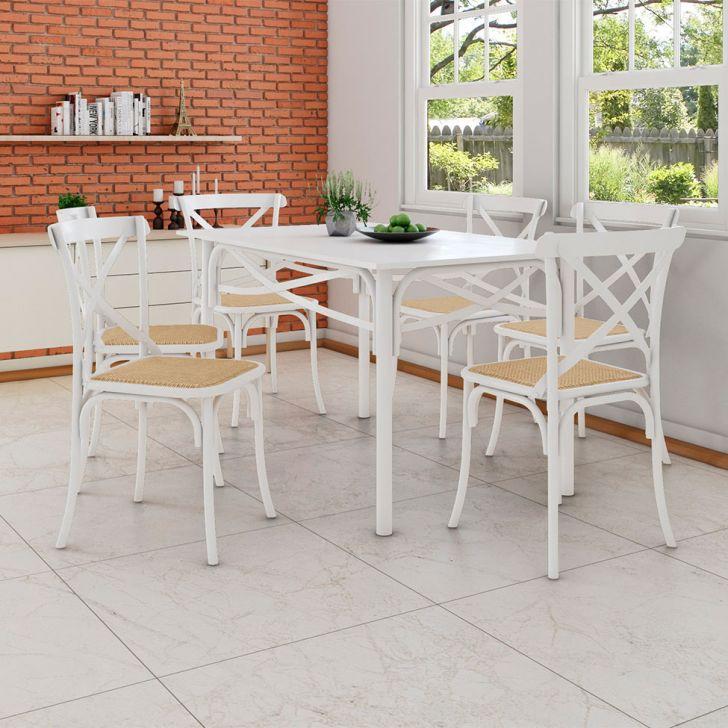 Conjunto de Mesa de Jantar com 6 Cadeiras e Tampo de Madeira Katrina Branco