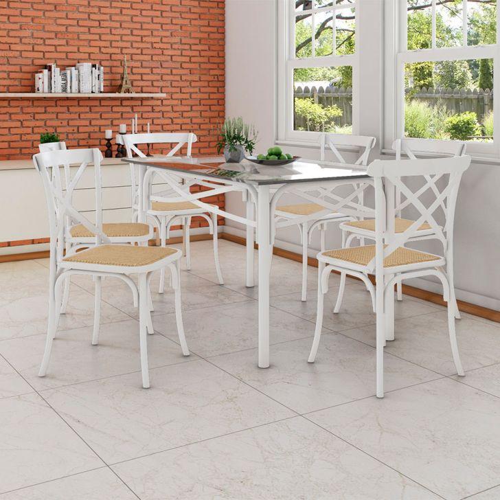 Conjunto de Mesa de Jantar com 6 Cadeiras e Tampo de Vidro Katrina Branco