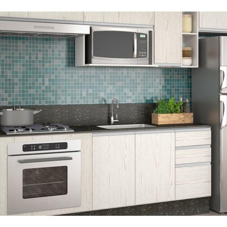 Cozinha Completa Modulada Branco Arezzo 100 Mdf 11 Módulos Nicioli