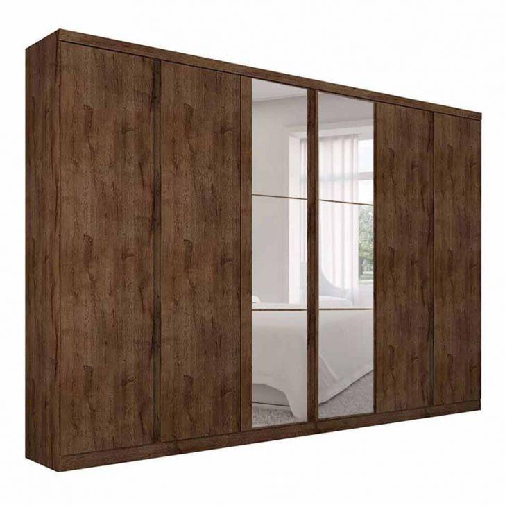 Guarda-Roupa Casal Com Espelho Valore 6 PT 6 GV Canela