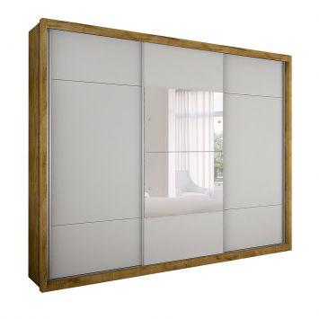 Menor preço em Guarda-Roupa Casal com Espelho Trento II 3 PT 3 GV Freijo Dourado e Branco