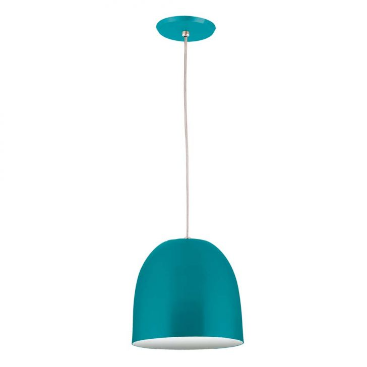 Pendente 6022 Redondo 1 Lâmpada Azul Turquesa Bivolt Pantoja&Carmona