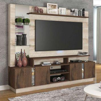 Menor preço em Estante para Home Theater e TV 60 Polegadas Munique Rústica e Café 200 cm