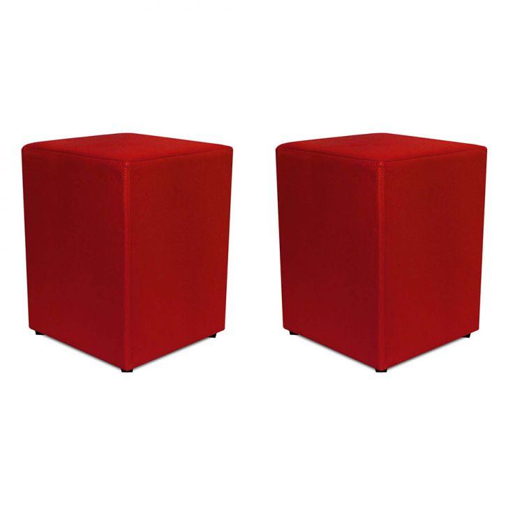 Conjunto 2 Puffs Quadrado Corino Vermelho Fogo