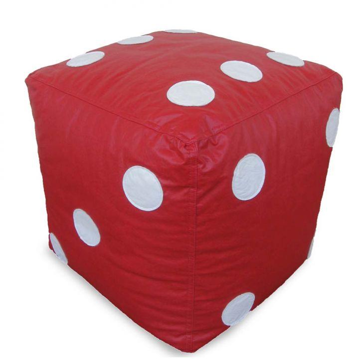 Puff Infantil Dado Grande Unissex em Couro Sintético Vermelho com Bolas Brancas