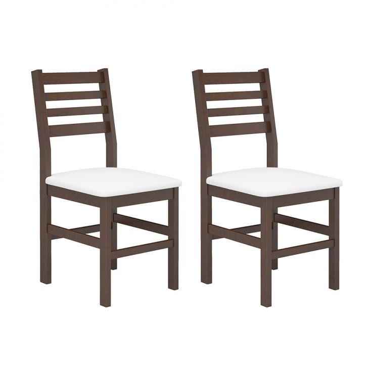 Conjunto com 2 Cadeiras Cristina Castanho e Branco