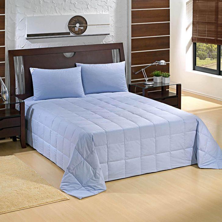 Cobre-leito 100% Pluma de Ganso-Solteiro-160X220-Azul