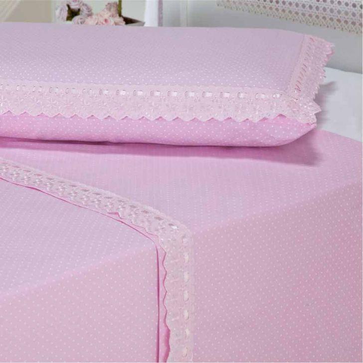 Jogo de Lençol My Princess Pink Solteiro Rosa 200 Fios