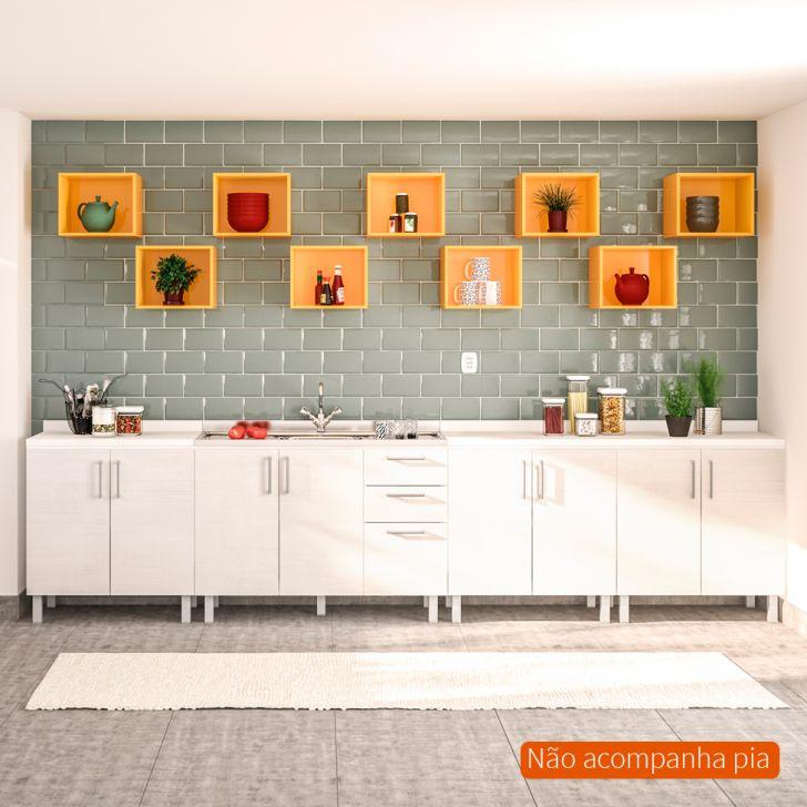 Balcão de Cozinha Floripa com 9 Nichos 8 PT 3 GV Branco e Amarelo