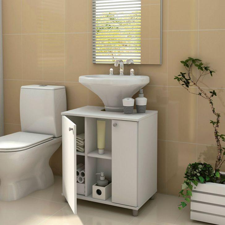 Foto 2 - Gabinete Asti para Banheiro com Portas Branco
