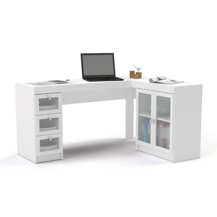 Mesa de Escritório Espanha 3 Gavetas 2 Portas Vidro Branco