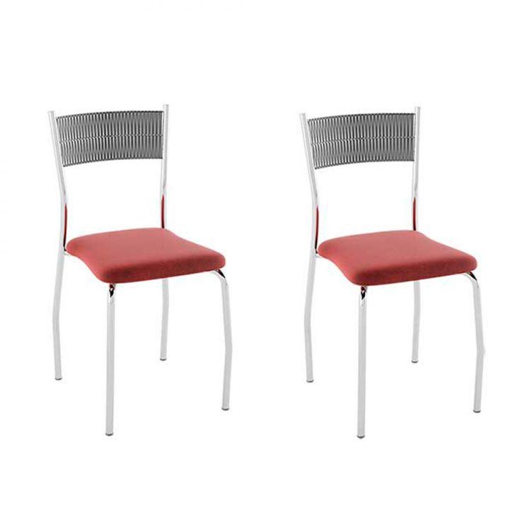 Conjunto com 2 Cadeiras Bruno I Nobuck Vermelho