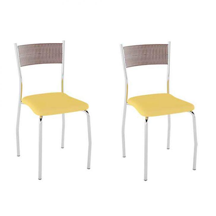 Conjunto com 2 Cadeiras Bruno II Amarelo