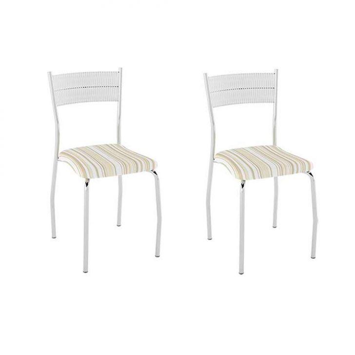 Conjunto com 2 Cadeiras Bruno II Listrado Caramelo