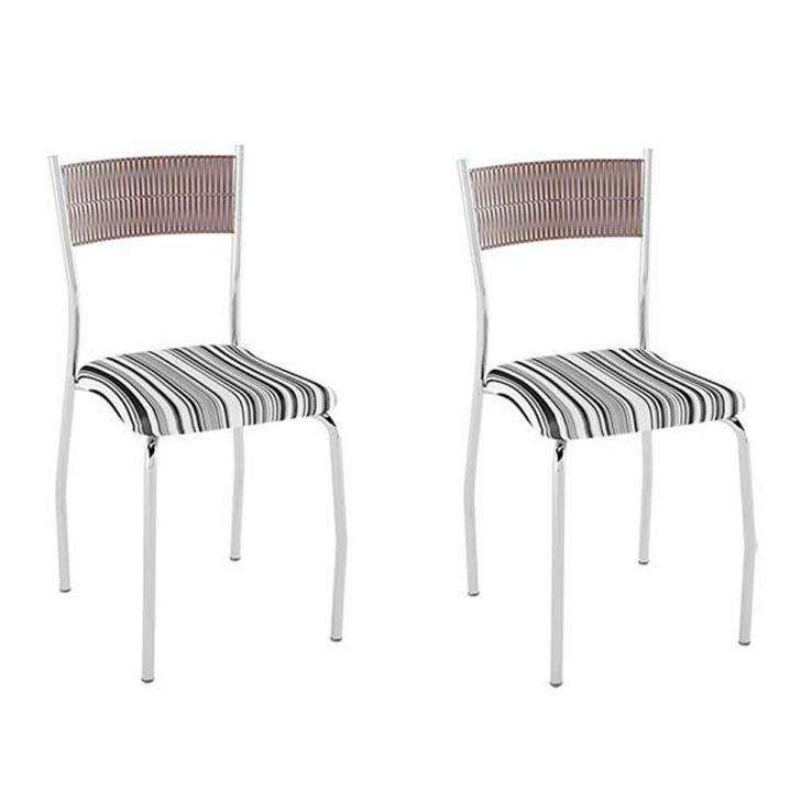 Conjunto com 2 Cadeiras Bruno III Listrado Preto