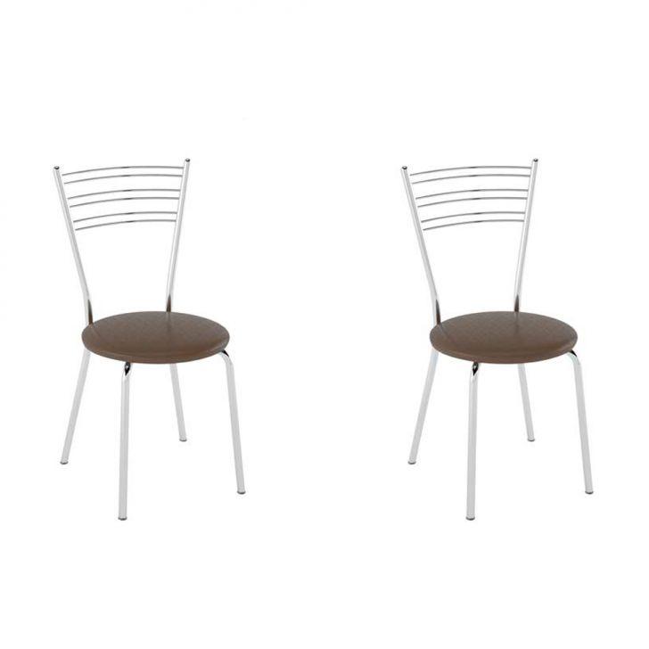 Conjunto com 2 Cadeiras Furlan Courissimo Metalizado Café
