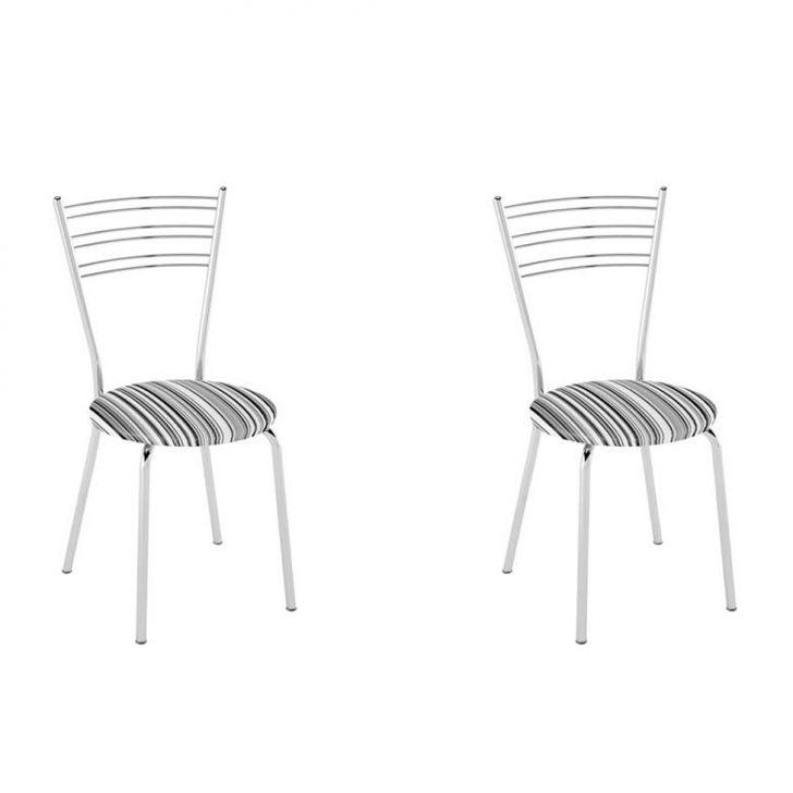 Conjunto com 2 Cadeiras Furlan Listrado Preto