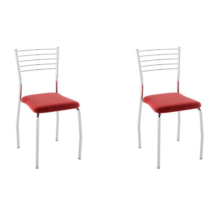 Conjunto com 2 Cadeiras Lini Nobuck Vermelho