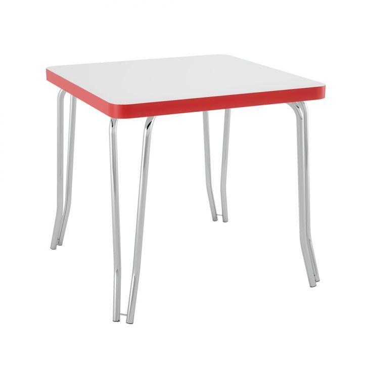 Mesa de Cozinha Quadrada London Branca com Borda Vermelha 80 cm