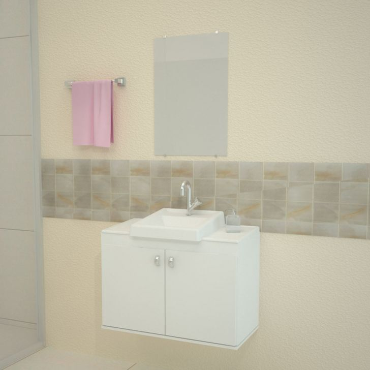 Conjunto de Banheiro Roma 50x70 Branco