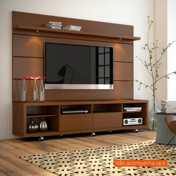 painel para tv 60 polegadas horizon ii castanho 218 cm. Black Bedroom Furniture Sets. Home Design Ideas