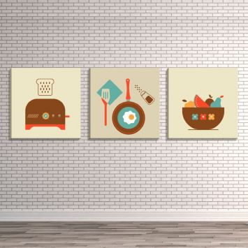 d49c41843 Conjunto de 3 Telas Decorativas Estilo Ilustração Ícones de Alimentos -  Montada: 40x126cm (A-L) Unico
