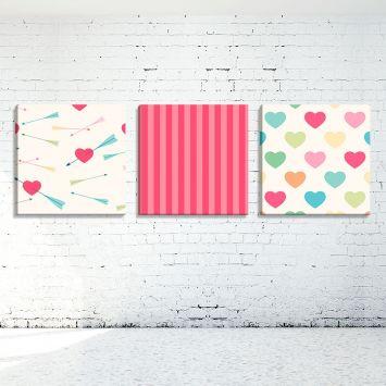 b69b6f413 Conjunto de 3 Telas Decorativas Estilo Ilustração Love Corações e Listras -  Montada: 40x126cm (A-L) Unico
