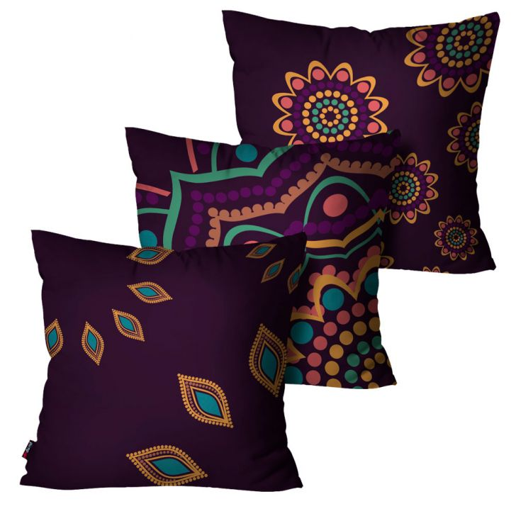 Kit 3 Almofadas Decorativa Indiana 45cm x 45cm Roxo