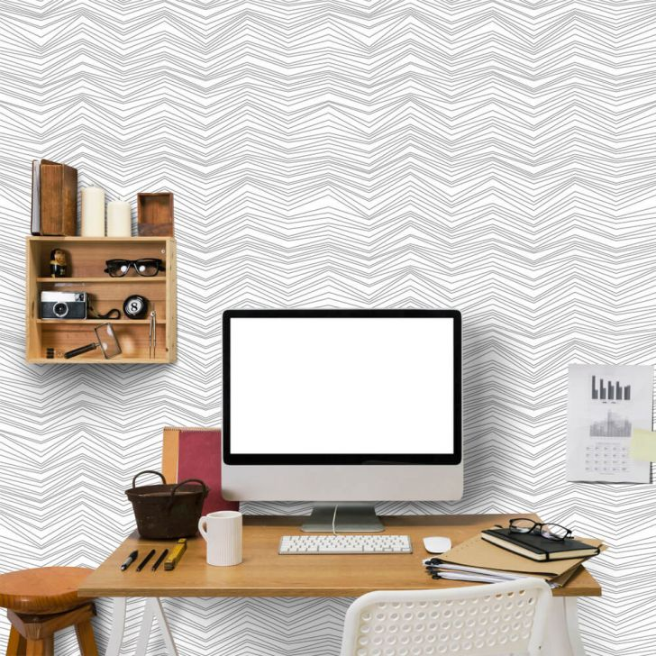 998be7785 Papel de Parede Chevron Light Gray