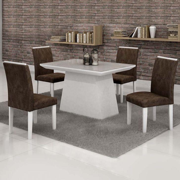 Conjunto de Mesa de Jantar com 4 Cadeiras Sevilha Suede Marrom e Branco