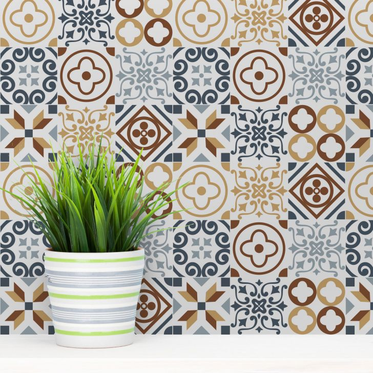 Adesivo de azulejo hidr ulico angra 15x15 cm com 36un for Azulejo 15x15