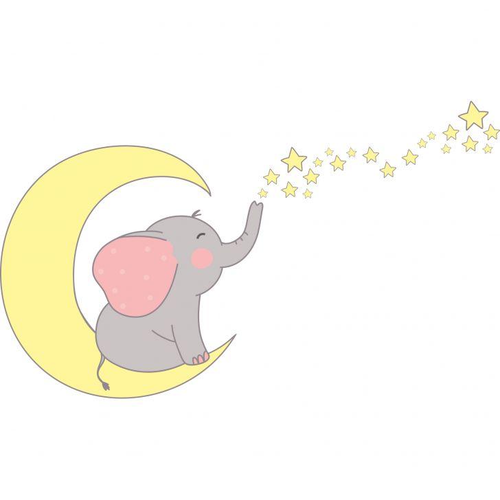 Armario De Cozinha Pequeno E Barato ~ Adesivo de Parede Infantil Elefante com Estrelas