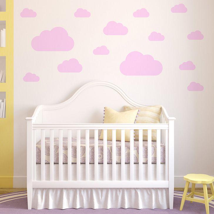 Aparador Barba E Corpo ~ Adesivo de Parede Infantil Nuvens Rosa