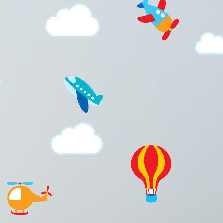 Aparador Livro Xadrez ~ Adesivo de Parede Quarto Beb u00ea Aviões e Nuvens