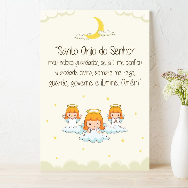 Placa Decorativa Infantil Oracao Anjo Da Guarda Lua 20x30