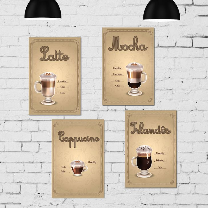 Placa Decorativa MDF Tipos de Café Kit 4 unidades - Colorido - 1 - thumbnail