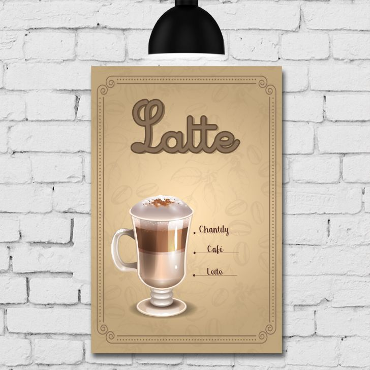 Placa Decorativa MDF Tipos de Café Kit 4 unidades - Colorido - 2 - thumbnail