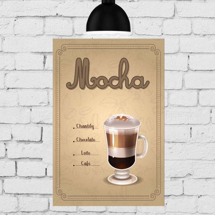 Placa Decorativa MDF Tipos de Café Kit 4 unidades - Colorido - 3 - thumbnail