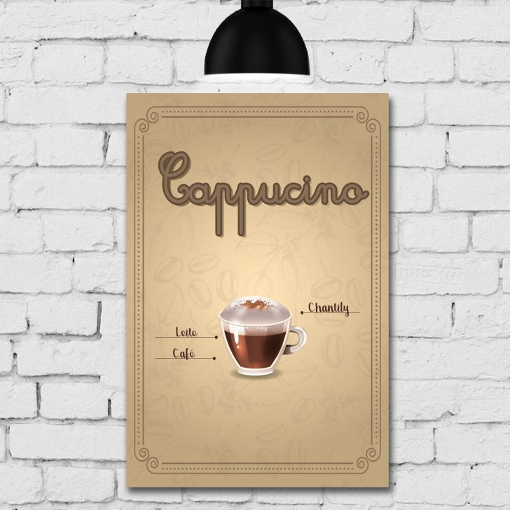 Placa Decorativa MDF Tipos de Café Kit 4 unidades - Colorido - 4 - thumbnail