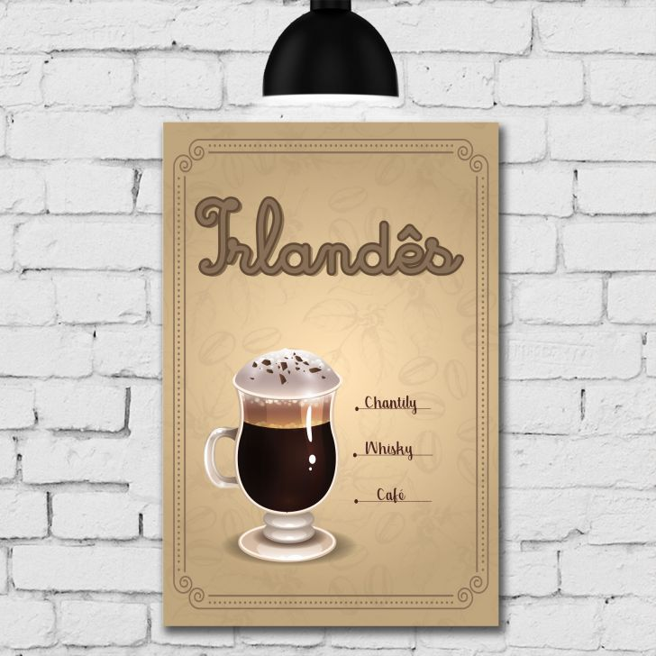 Placa Decorativa MDF Tipos de Café Kit 4 unidades - Colorido - 5 - thumbnail