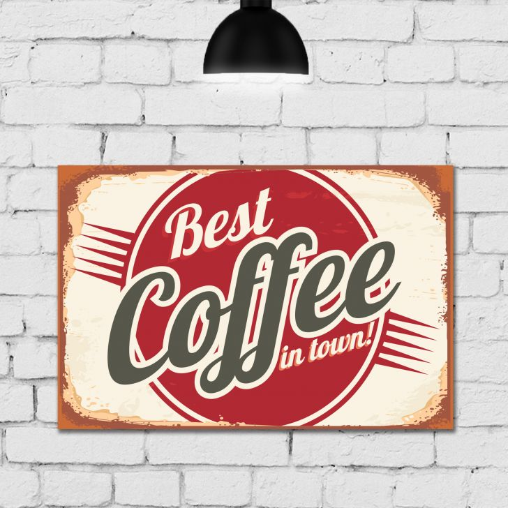 Placa Decorativa MDF Vintage Café Best Coffee 30x40 - Vermelho - 1 - thumbnail